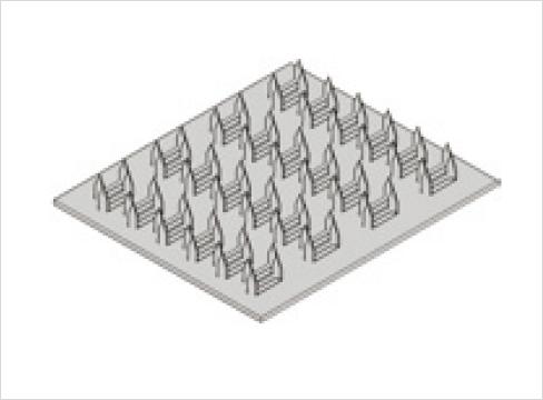 多数の釘状の突起が見られるネイルプレート